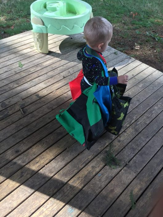 My son with my shopping bags